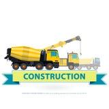 Grupo do amarelo da maquinaria de construção A terra trabalha com sinal Veículos da máquina ilustração do vetor