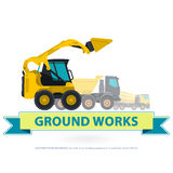 Grupo do amarelo da maquinaria de construção A terra trabalha com sinal Veículos da máquina ilustração royalty free
