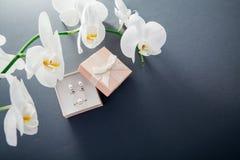 Grupo do anel e dos brincos de prata com as pérolas na caixa de presente com orquídea branca Apresente por um dia do ` s da mãe c Foto de Stock