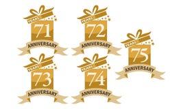 Grupo do aniversário da fita da caixa de presente do ano Imagens de Stock Royalty Free