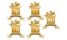 Grupo do aniversário da fita da caixa de presente do ano Imagem de Stock Royalty Free