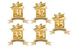 Grupo do aniversário da fita da caixa de presente do ano Fotos de Stock Royalty Free