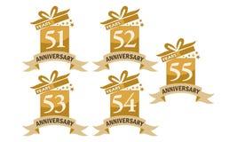 Grupo do aniversário da fita da caixa de presente do ano Fotografia de Stock
