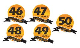 Grupo do aniversário da fita da caixa de presente do ano Imagem de Stock