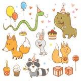 Grupo do aniversário dos desenhos animados Foto de Stock Royalty Free