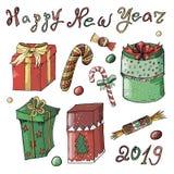 Grupo do ano novo e do Natal com presentes e doces em um fundo branco ilustração do vetor