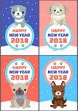 Grupo do ano novo feliz de ilustração do vetor das bandeiras ilustração stock