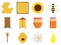 Grupo do apiário isolado no fundo branco no estilo liso Ícones da apicultura: frasco do mel doce orgânico natural, cera de abelha ilustração do vetor