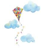 Grupo do ar do papagaio do tabuleiro de damas da aquarela Papagaio tirado mão do vintage com festões das bandeiras, nuvens e proj ilustração do vetor