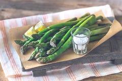Grupo do aspargo cozinhado foto de stock