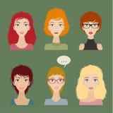 Grupo do avatar das mulheres Fotos de Stock