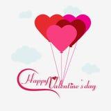Grupo do balão na forma do coração com caligrafia Foto de Stock Royalty Free