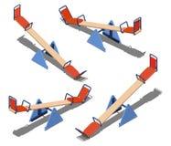 Grupo do balanço alaranjado e azul - equilibradores para crianças, para patinar junto, ilustração isométrica do vetor Imagens de Stock