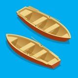Grupo do barco de enfileiramento Barco de madeira com as pás isoladas Ilustração isométrica lisa do vetor 3d Fotografia de Stock Royalty Free