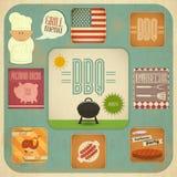 Grupo do BBQ do menu do assado Imagens de Stock