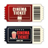 Grupo do bilhete do cinema Molde de dois bilhetes realísticos do filme isolados no fundo branco Vetor ilustração stock
