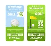 Grupo do bilhete do esporte do golfe Vetor ilustração stock