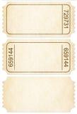Grupo do bilhete. Topos de bilhete de papel isolados com trajeto de grampeamento Fotografia de Stock