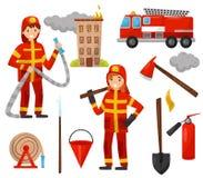 Grupo do bombeiro e do equipamento de combate ao fogo, caminhão, mangueira de fogo, boca de incêndio, extintor, machado, sucata,  ilustração royalty free
