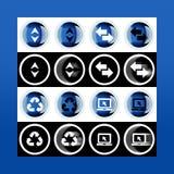 Grupo do botão 3d e ícones lisos para o negócio, o SEO e o MED social foto de stock royalty free
