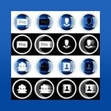 Grupo do botão 3d e ícones lisos para o negócio, o SEO e o MED social imagem de stock royalty free