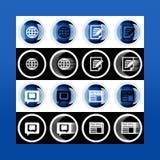 Grupo do botão 3d e ícones lisos para o negócio, o SEO e o MED social imagem de stock