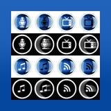 Grupo do botão 3d e ícones lisos para o negócio, o SEO e o MED social fotos de stock