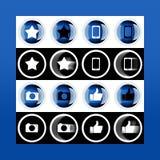 Grupo do botão 3d e ícones lisos para o negócio, o SEO e o MED social fotografia de stock royalty free