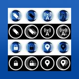 Grupo do botão 3d e ícones lisos para o negócio, o SEO e o MED social fotos de stock royalty free