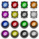 Grupo do botão da bola de rugby Fotografia de Stock