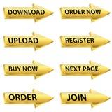 Grupo do botão da Web da seta do ouro Fotografia de Stock