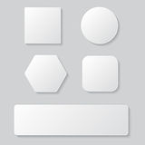 Grupo do botão vazio branco Quadrado redondo botões arredondados Imagens de Stock Royalty Free