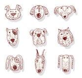 Grupo do cão dos desenhos animados, ilustração do vetor Fotografia de Stock