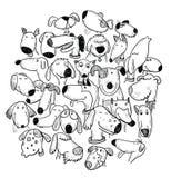 Grupo do cão dos desenhos animados, ilustração do vetor Imagens de Stock