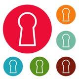 Grupo do círculo dos ícones do buraco da fechadura Imagens de Stock Royalty Free