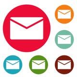 Grupo do círculo dos ícones do correio Imagens de Stock