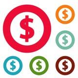 Grupo do círculo dos ícones do dólar Imagens de Stock
