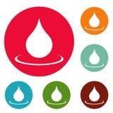 Grupo do círculo dos ícones da gota da água Foto de Stock Royalty Free