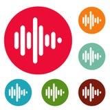 Grupo do círculo dos ícones da onda sadia Foto de Stock