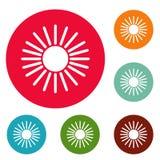 Grupo do círculo dos ícones de Sun Foto de Stock