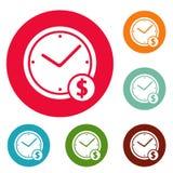 Grupo do círculo dos ícones do dinheiro do pulso de disparo Imagem de Stock Royalty Free