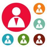 Grupo do círculo dos ícones do homem Imagens de Stock