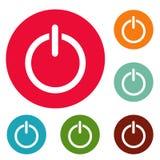 Grupo do círculo dos ícones do poder Imagens de Stock Royalty Free