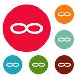 Grupo do círculo dos ícones do símbolo da infinidade Imagem de Stock Royalty Free
