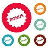 Grupo do círculo dos ícones do sinal do bônus Imagem de Stock