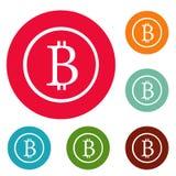 Grupo do círculo dos ícones do sinal de Bitcoin Imagem de Stock