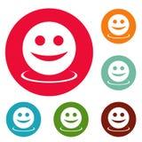 Grupo do círculo dos ícones do sorriso Imagem de Stock Royalty Free