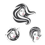 Grupo do cabelo da cara da mulher da beleza Imagens de Stock