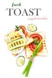 Grupo do café da manhã de elementos com pão, ovos fritos do brinde, vegetab Imagem de Stock