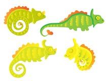 Grupo do camaleão dos desenhos animados Imagem de Stock Royalty Free